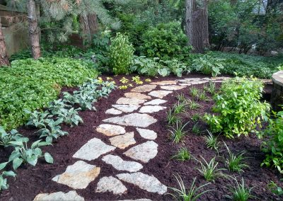 Flagstone path and shade plantings