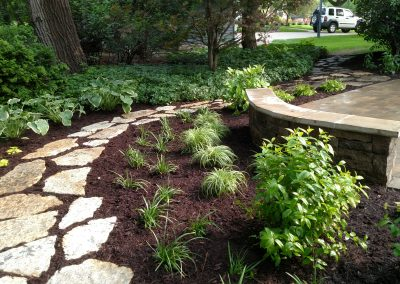Flagstone path and plantings