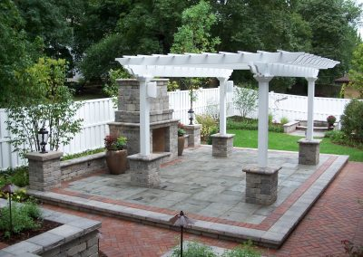 Pergola, Fireplace and water feature